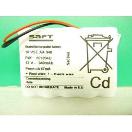 SAFT PACK Batterie NiCd 12V 940mAh - 10VSEAA940 - 801894 - Quiatil Plus