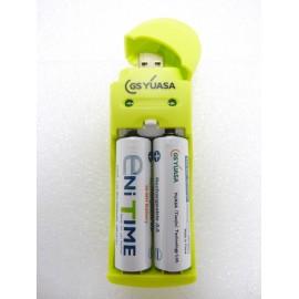 YUASA Chargeur USB + 2 accus AA - 2000mAh